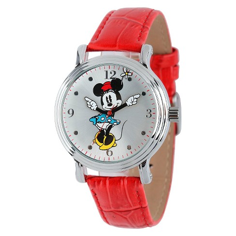 Women's Disney® Minnie Mouse Shinny Vintage Articulating Watch with Alloy Case - Red - image 1 of 2