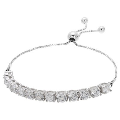 Women's Adjustable Bracelet with Clear Round Cubic Zirconias in Sterling Silver - Silver/Clear (9.25 )