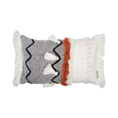 """Multicolor Hand Woven 14x22"""" Decorative Cotton Throw Pillow Cover With Insert, Hand Tufted Details and Hand Tied Tassels - Foreside Home & Garden"""