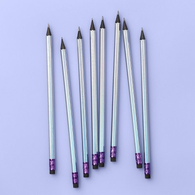 8ct Iridescent Sharpened #2 Pencils With Black Core   More Than Magic by More Than Magic