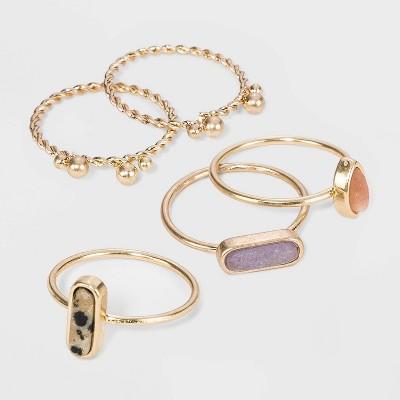 Semi-Precious Dalmation Jasper, Sunstone & Angelite Multi Ring Set - Universal Thread™ Worn Gold