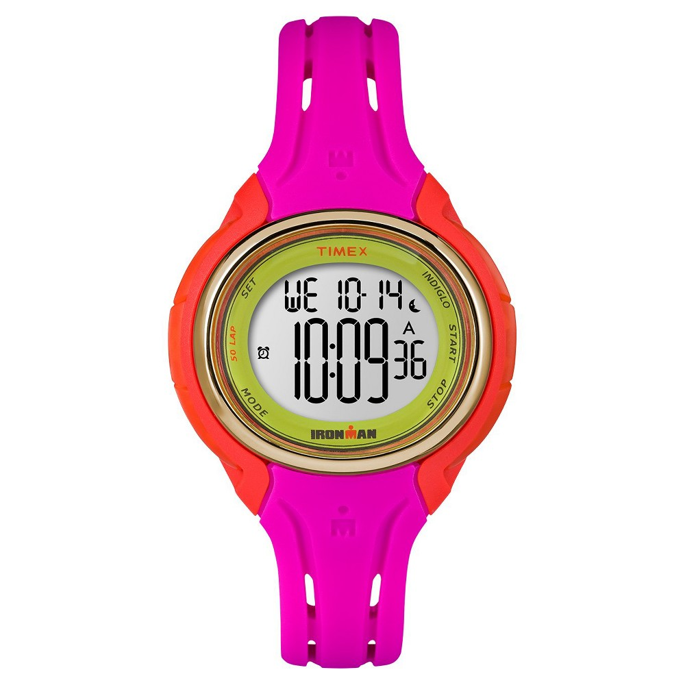 Women's Timex Ironman Sleek 50 Lap Digital Watch - Pink/Orange TW5M02800JT