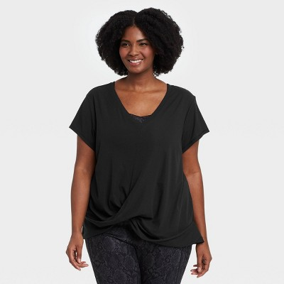 Women's Plus Size Short Sleeve Twist-Front Ribbed T-Shirt - All in Motion™