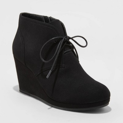 Women's Bessie Wedge Bootie - Universal Thread™ Black