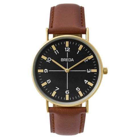 BREDA Men's 'Belmont' 1646B Slim Gold and Brown Leather Strap Watch, 41MM - image 1 of 3