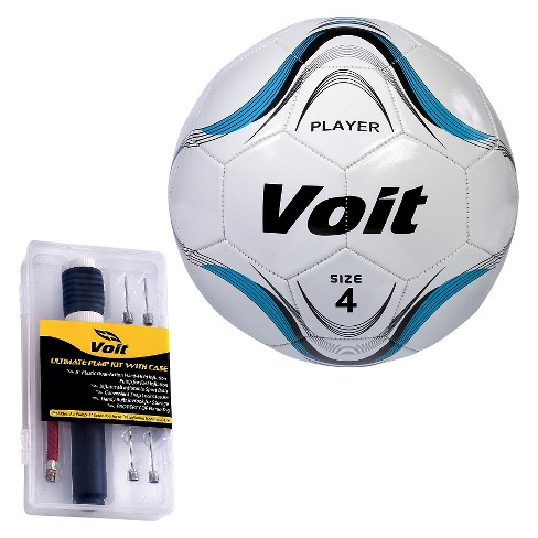 Voit 12 Pack Player Size 4 Soccer Ball with Ultimate Inflating Kit - White/Blue - image 1 of 1