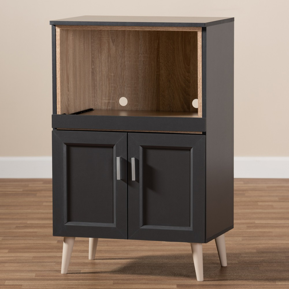 Tobias Oak Finished Kitchen Cabinet Dark Gray/Brown - Baxton Studio