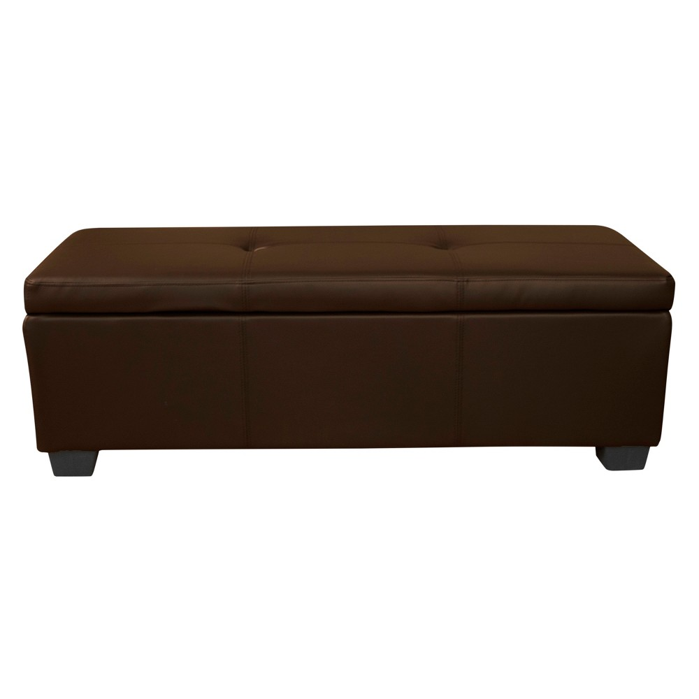 Heirloom Storage Ottoman Leather Espresso Brown - Epic Furnishings