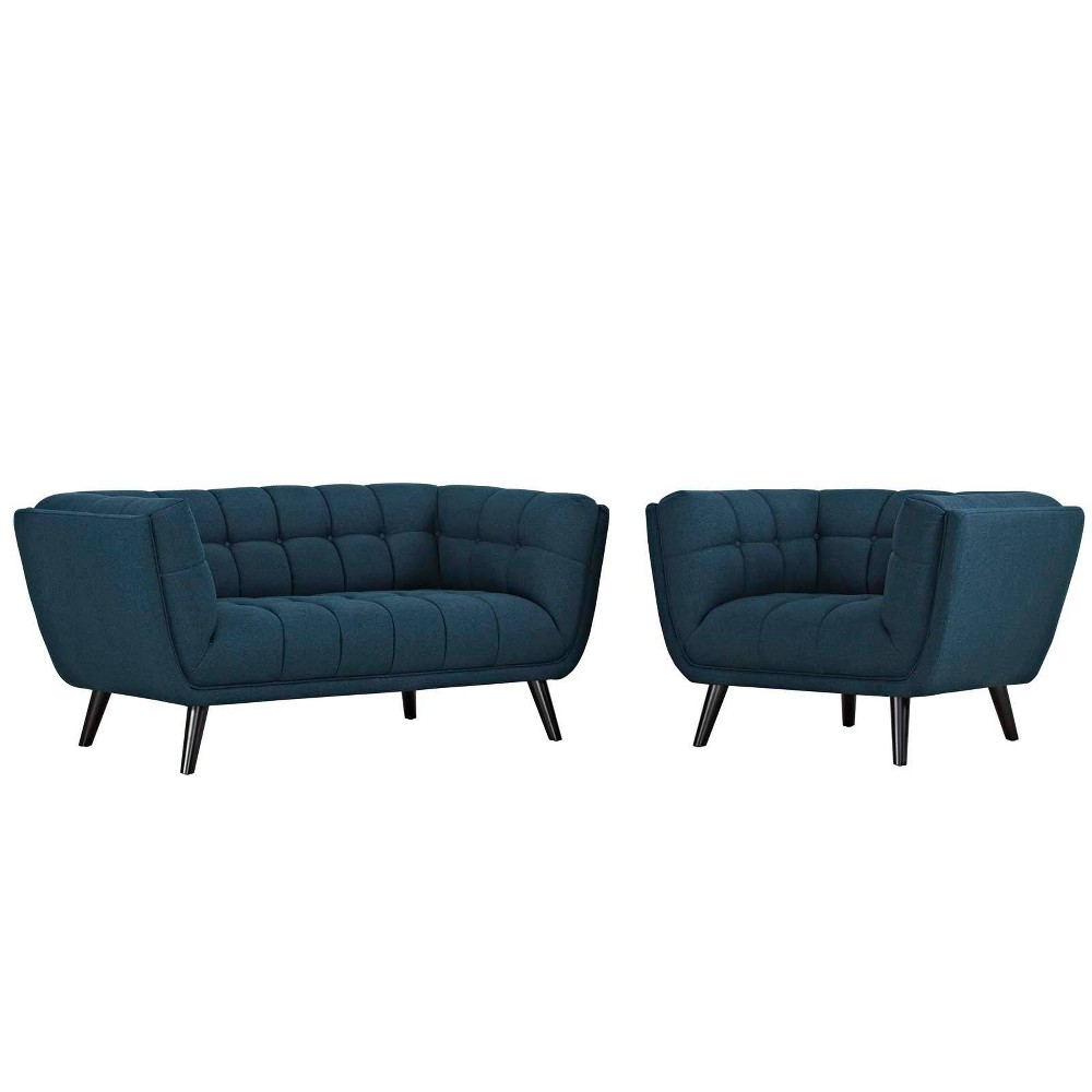 Image of 2pc Bestow Upholstered Fabric Loveseat and Armchair Set Blue - Modway