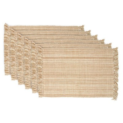 Set of 6 Variegated Fringe Placemat Taupe - Design Imports