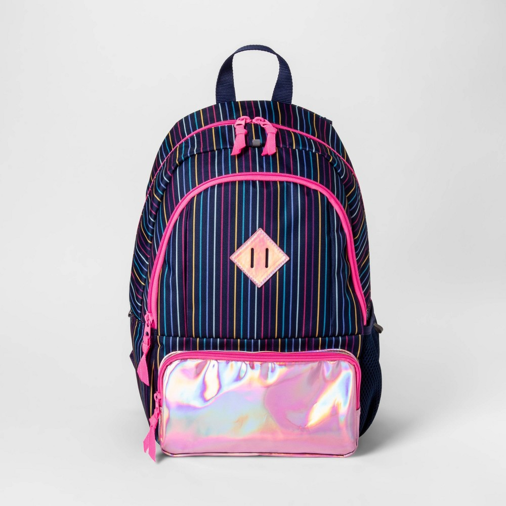 """Image of """"17"""""""" Metallic Stripe Kids' Backpack Pink/Navy - Cat & Jack , Girl's, Size: Small, Pink Blue"""""""