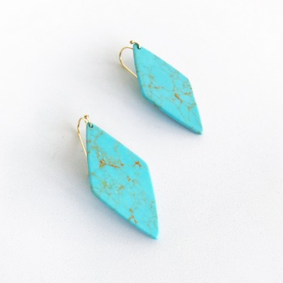 Sanctuary Project Semi Precious Turquoise Diamond Drop Statement Earrings Gold