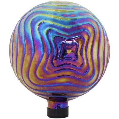 """Sunnydaze Outdoor Rippled Texture Glass Gazing Globe Ball - 10"""" Diameter - Purple"""