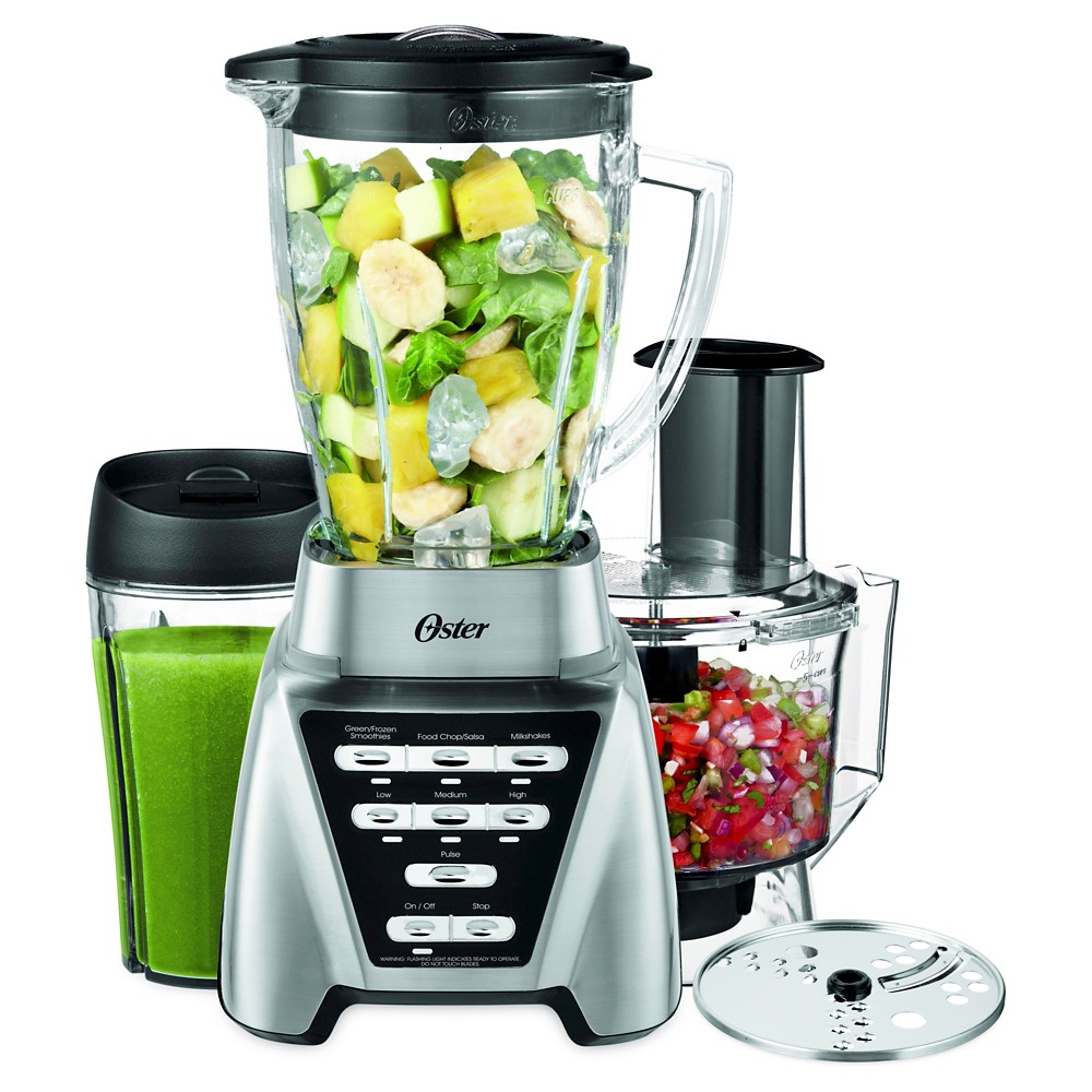 Oster Pro 1200 Blender Plus Smoothie Cup & Food Processor – Brushed Nickel-Blstmb-Cbf-000, Silver 50484449