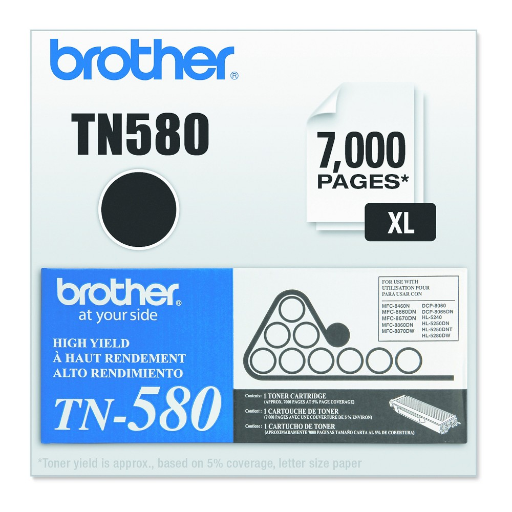 Brother TN580 High-Yield Toner, Black (TN580)