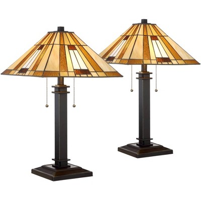 Robert Louis Tiffany Mission Table Lamps Set of 2 Bronze Cone Art Glass Shade for Living Room Family Bedroom Bedside Nightstand