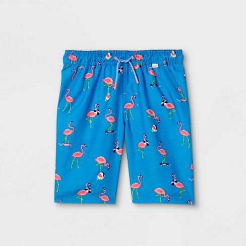 Boys' Flamingo Swim Trunks - Cat & Jack™ Blue - image 1 of 2