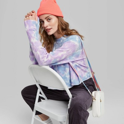 Women's Long Sleeve Crewneck Tie-Dye Thermal Boxy T-Shirt - Wild Fable™ Blue/ Purple