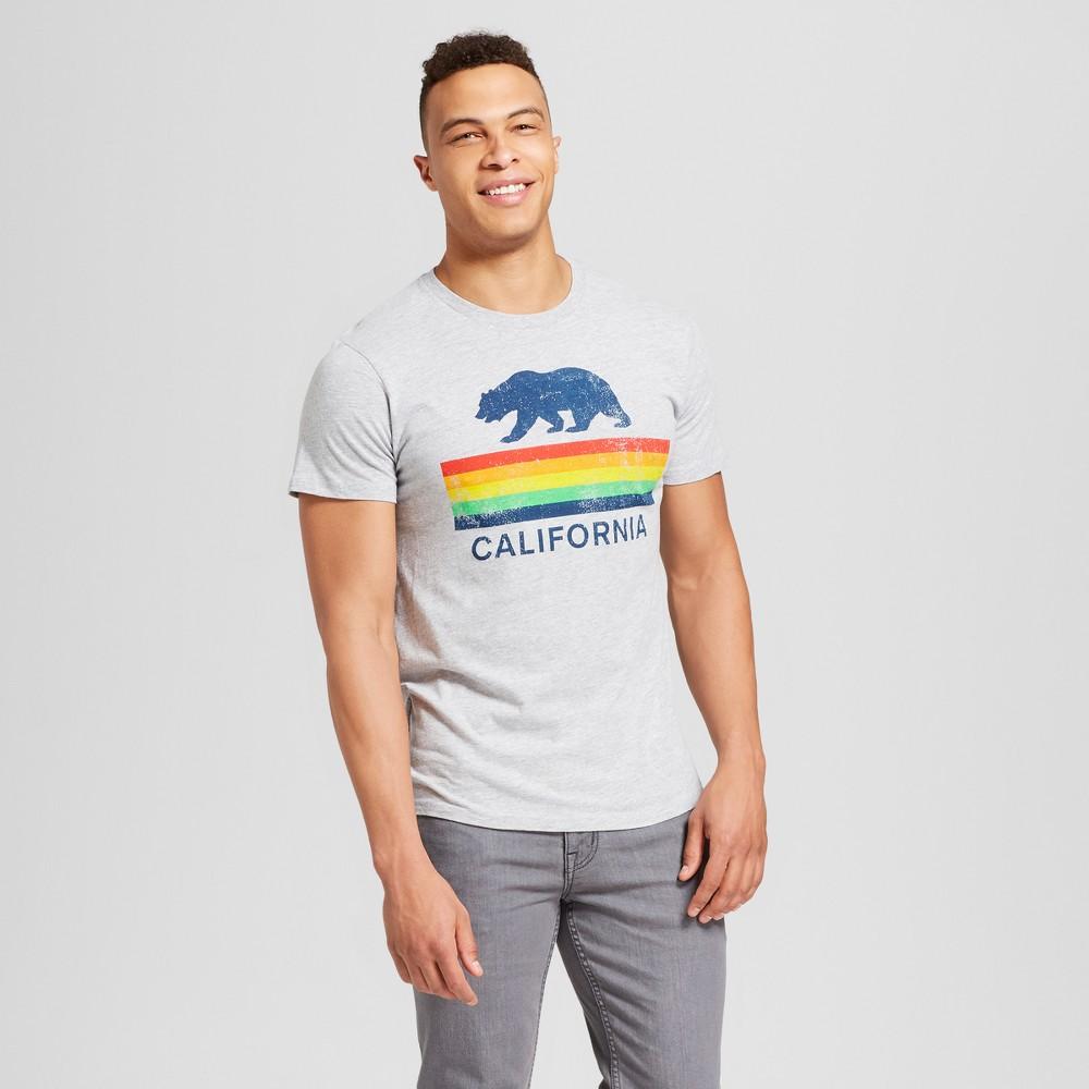 Men's California Bear Short Sleeve Crew Neck T-Shirt - Awake - Light Gray XL