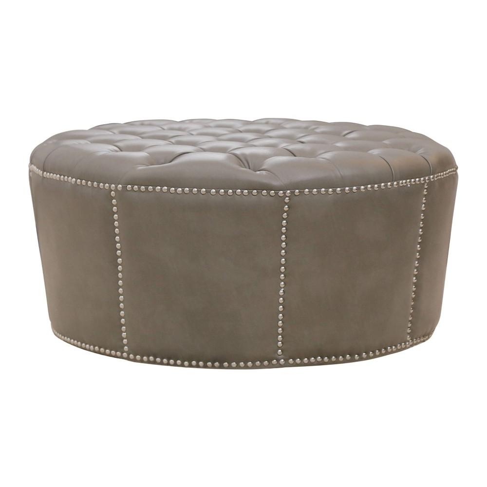 Newport Leather Nailhead Trim Round Ottoman - Gray - Abbyson Living, White Gray
