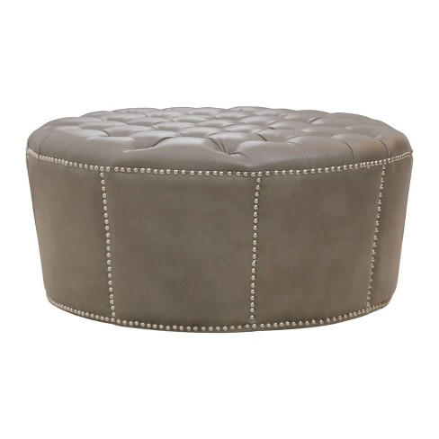 Terrific Newport Leather Nailhead Trim Round Ottoman Gray Abbyson Living Gmtry Best Dining Table And Chair Ideas Images Gmtryco