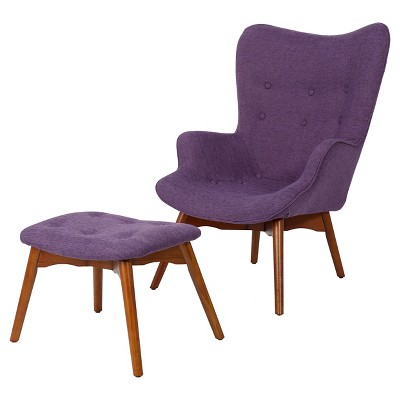 Hariata Fabric Contour Chair with Ottoman Set - Christopher Knight Home