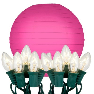 """10ct 10"""" Fuchsia Electric String Light with Paper Lanterns"""