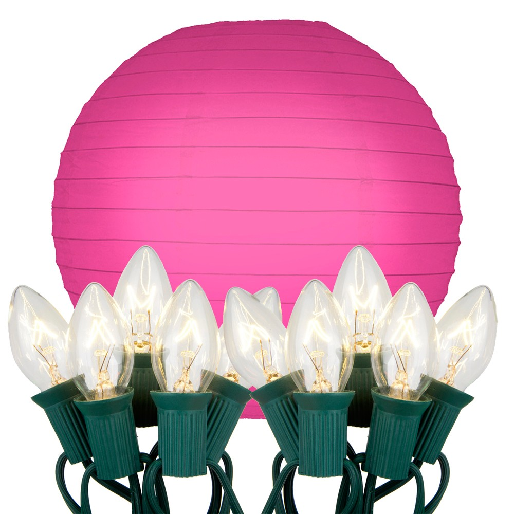 "Image of ""10ct 10"""" Fuchsia Electric String Light with Paper Lanterns"""