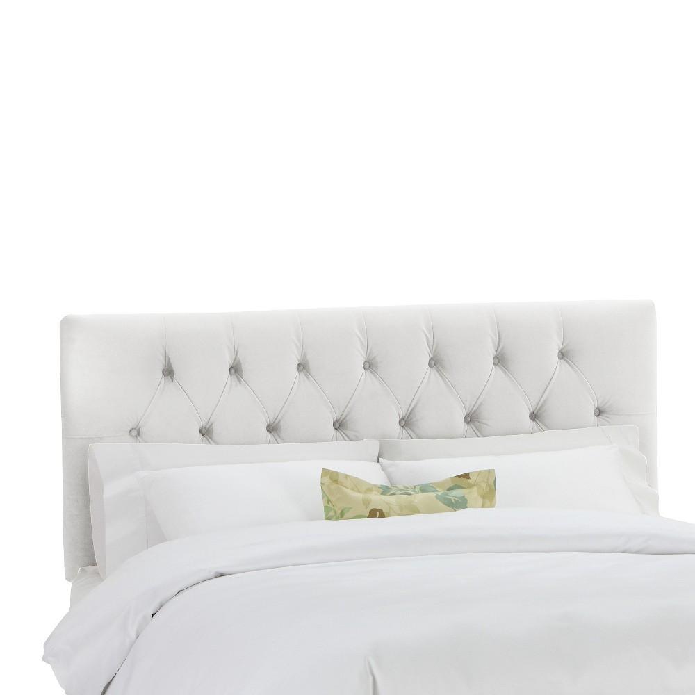 Full Jasmine Tufted Upholstered Headboard White Velvet - Cloth & Co.