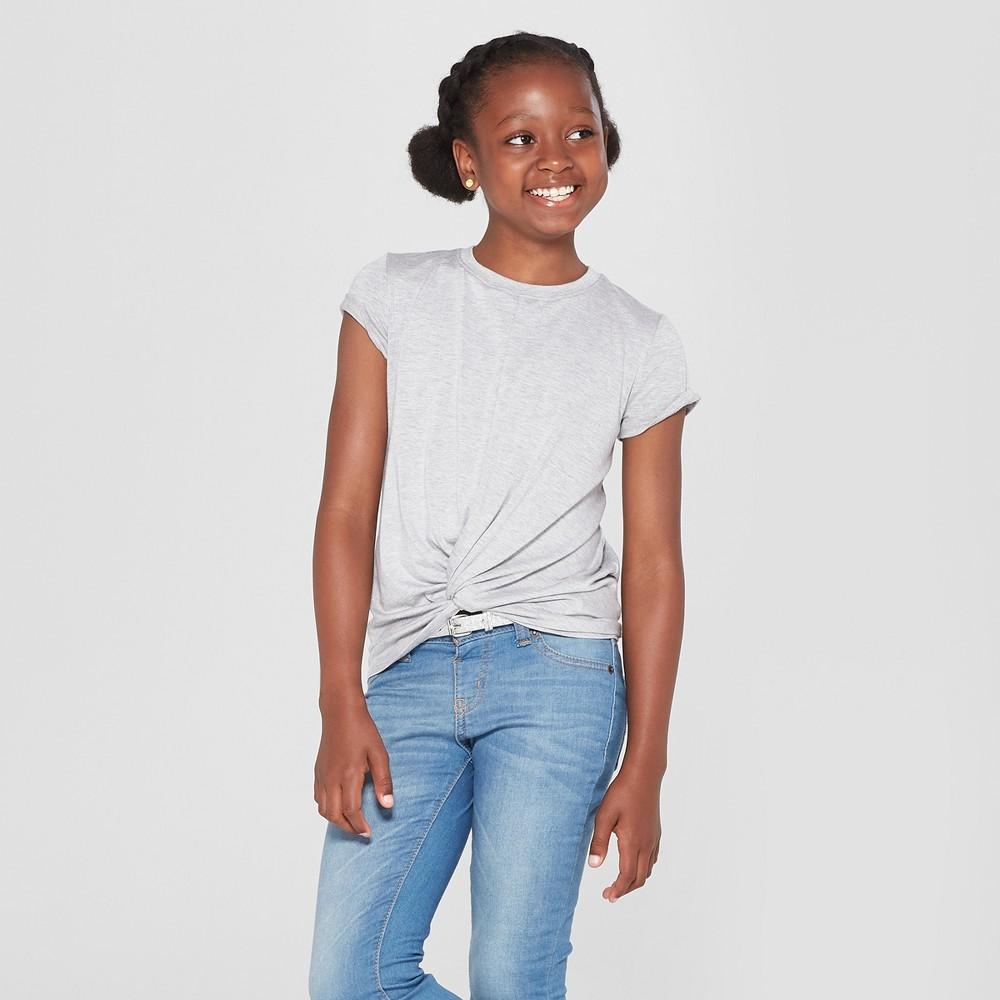 Girls' Tie Front Knit T-Shirt - art class Gray XL