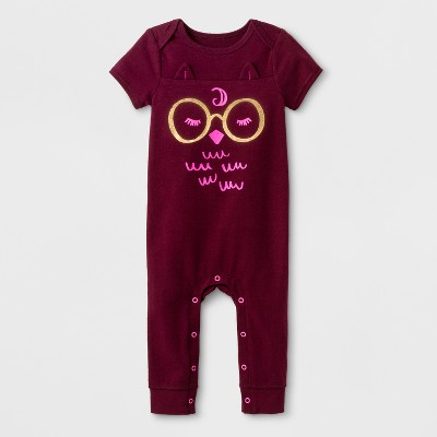 Baby Girls' Owl Romper - Cat & Jack™ Burgundy 0-3M