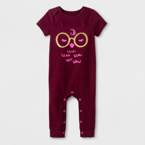 e484b321576 Baby Girls  Owl Romper - Cat   Jack™ Burgundy   Target