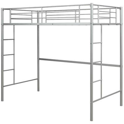 Costway Twin Loft Bed Metal Bunk Ladder Beds Kids Bedroom Dorm White\ Black\ Sliver