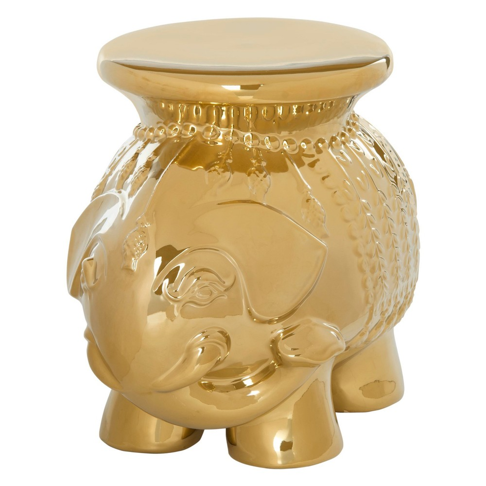 Beloved in Feng Shui as a symbol of good luck, the elephant is artfully detailed in this stylish sculptural stool. The lustrous ceramic lends organic cultural charm to any room. Color: Gold. Gender: unisex. Pattern: Elephants.