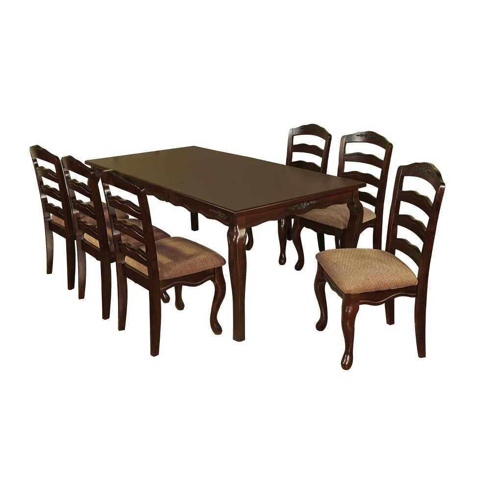 ioHomes 7pc Floral Accented 78 Dining Table Set Wood/Dark Walnut