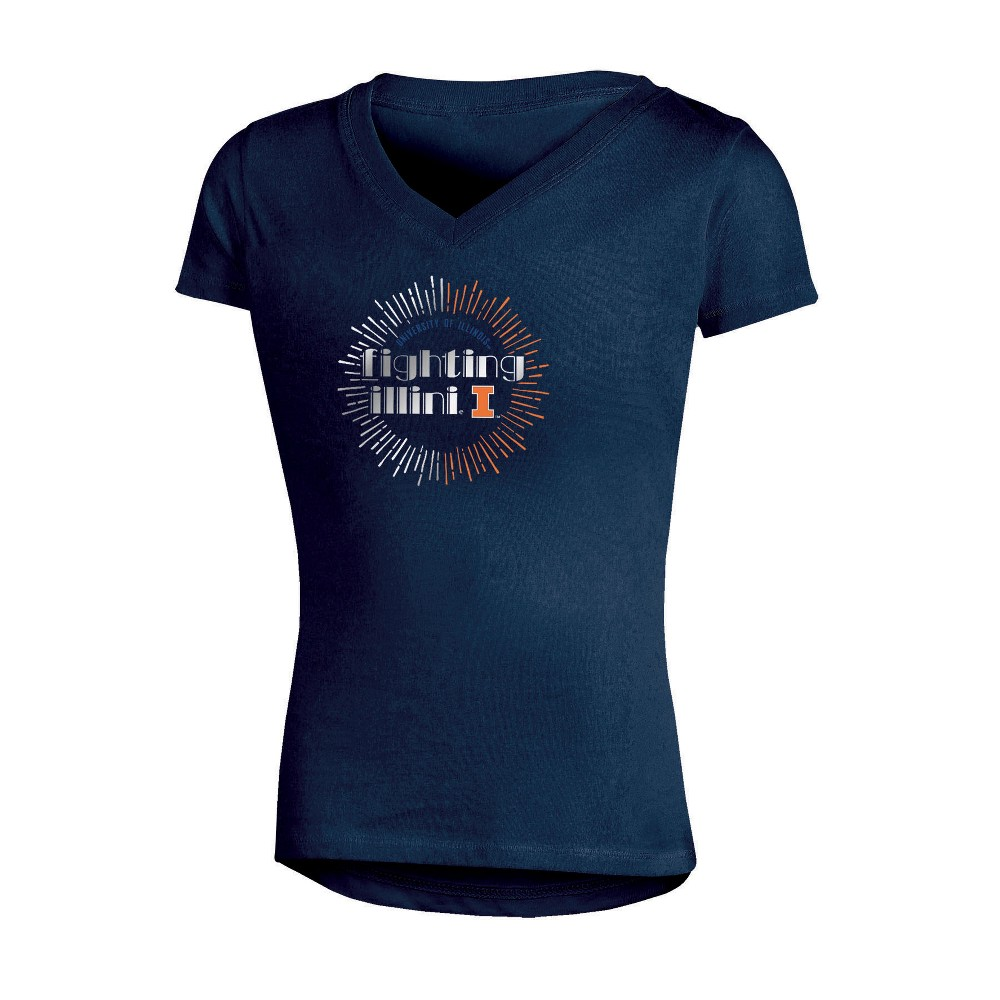 NCAA Girls' V-Neck T-Shirt Illinois Fighting Illini - S, Multicolored
