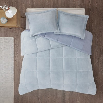 Miles Reversible Frosted Print Plush to Heathered Comforter Set