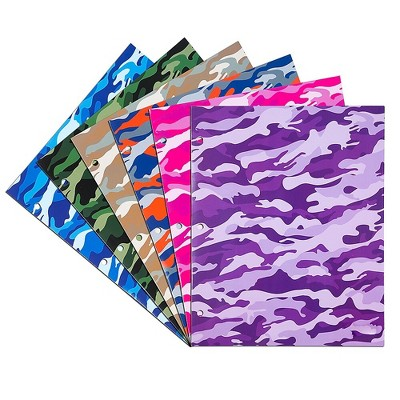 JAM Paper Glossy 3-Hole Punched 2-Pocket School Folders Assorted Camo 31237922