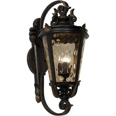 """John Timberland Traditional Outdoor Wall Fixture Veranda Bronze Ornate Scroll 36"""" Champagne Hammered Glass for Exterior Porch"""