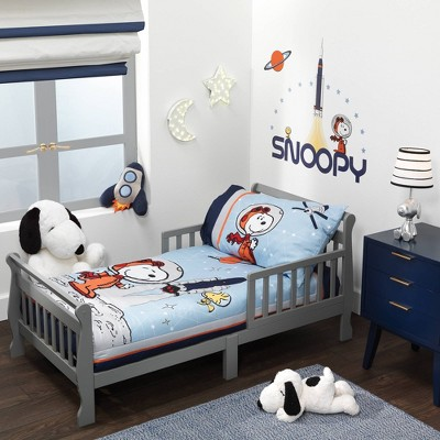 Bedtime Originals Astronaut Snoopy Toddler Bedding Set - Blue 4pc