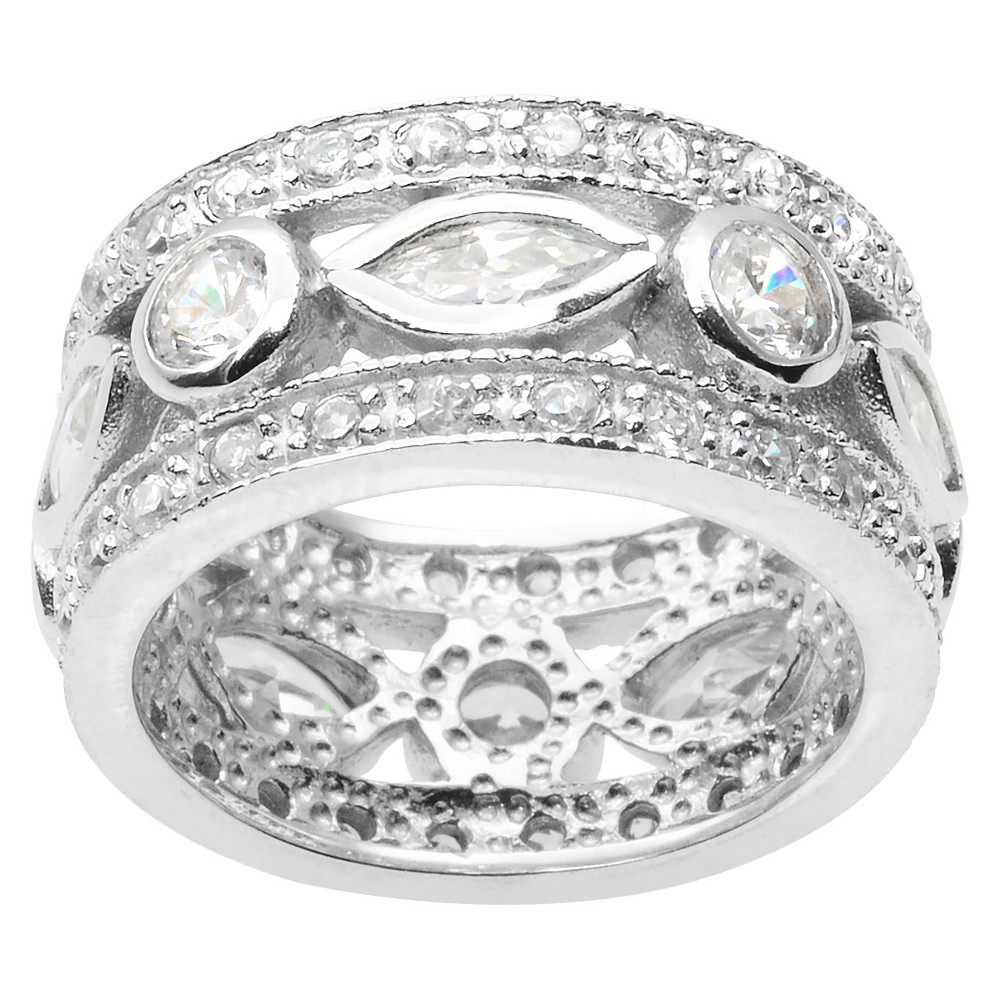 2 3/5 CT. T.W. Marquise Cut CZ Bezel Set Elegant Ring in Sterling Silver - Silver (8)