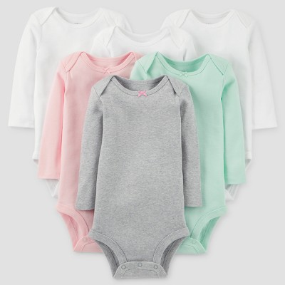 Baby Girls' 6pk Long Sleeve Bodysuits - Just One You™ Made by Carter's® White/Pink 6M