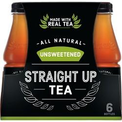 Straight Up Tea, Unsweetened Black Tea - 6pk/18.5 fl oz Glass Bottles