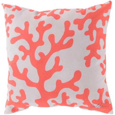 """Surya 18"""" Square Coral Seas Outdoor Throw Pillow - Pink/White - image 1 of 1"""