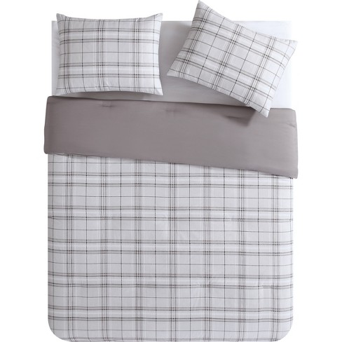 3pc King Cox Plaid Mini Comforter Set Taupe - VCNY Home - image 1 of 3