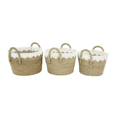 Olivia & May Large Set of 3 Round Seagrass Baskets White/Natural