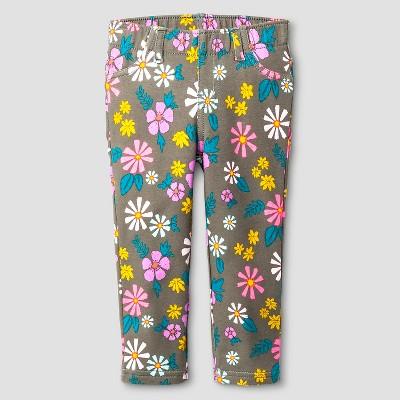 Baby Girls' Floral Jeggings - Cat & Jack™ Green 12M