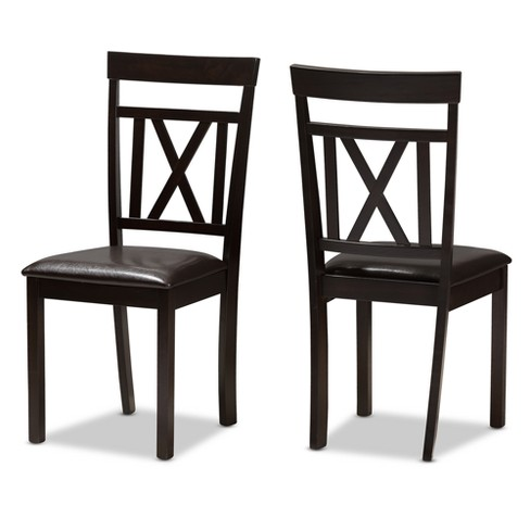 Set Of 2 Rosie Modern And Contemporary Faux Leather Upholstered Dining Chairs Dark Brown Baxton Studio Target