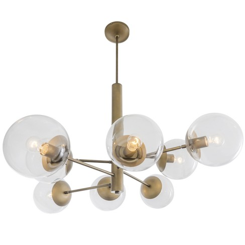 Mid-Century 8-Light Chandelier Antique Brass - Rogue Decor Co. - image 1 of 4
