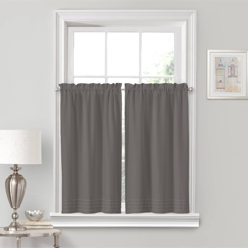 "Image of ""24""""x52"""" Kingsbury Rod Pocket Curtain Tier Set Gray - Eclipse"""